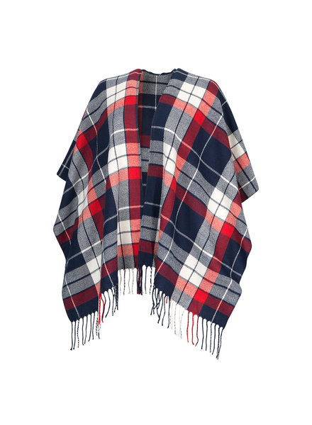Wholesale Boutique Monogrammed Navy & Red Plaid Shawl