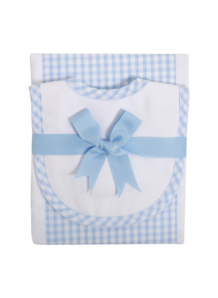 3 Marthas Blue Gingham Bib & Burp Cloth Set