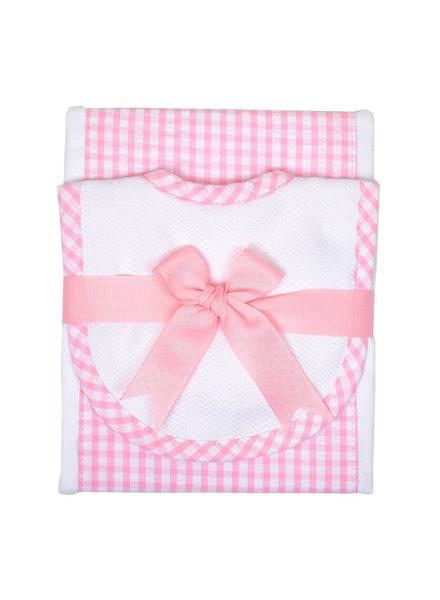 3 Marthas Pink Gingham Bib & Burp Cloth Set