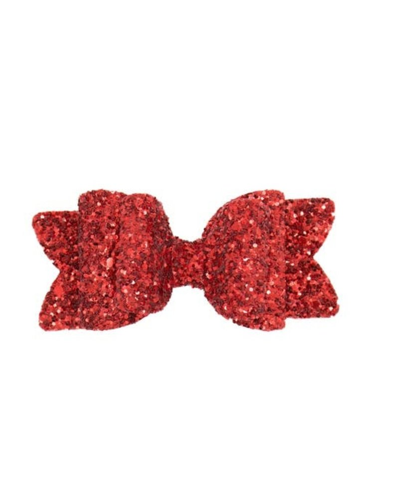Alexander Sara Alexander Sara Glitter Bow Clip - Red Apple