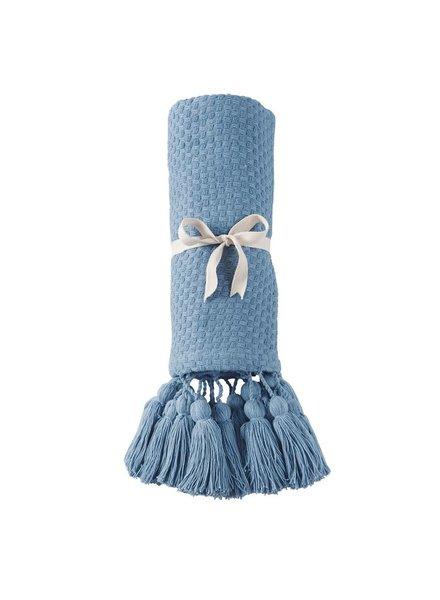 Mudpie French Blue Tassel Throw Blanket