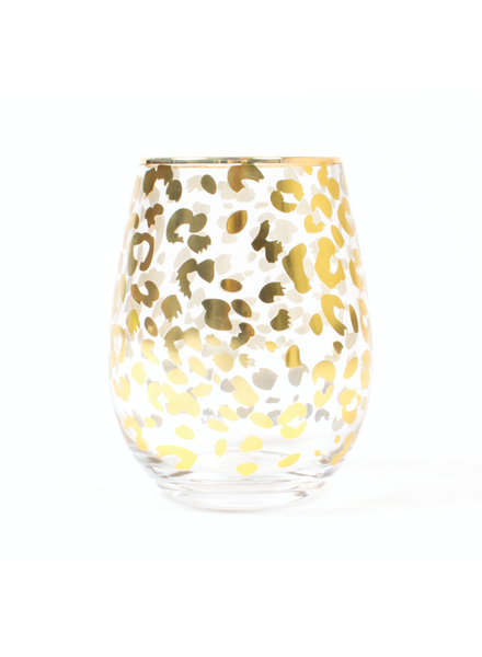 8 Oak Lane Gold Leopard Stemless Wine Glass