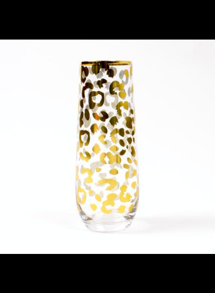 8 Oak Lane Gold Leopard Stemless Champagne Flute