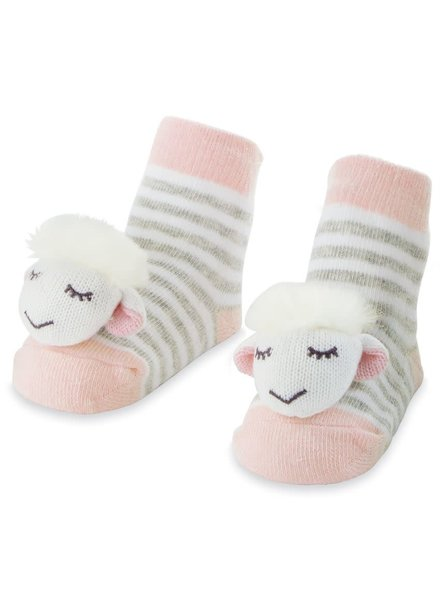 Mudpie Pink Sheep Rattle Toe Socks