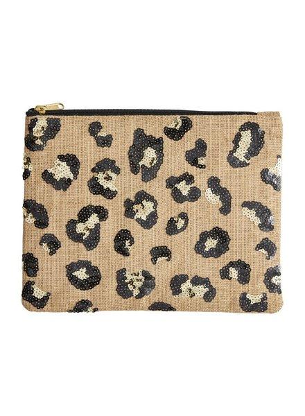 Mudpie Leopard Sequin Zip Case