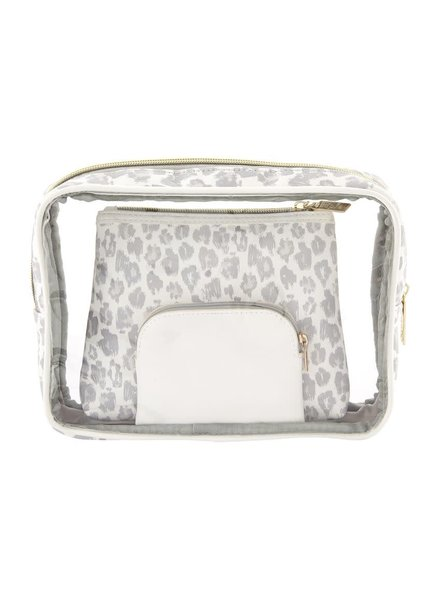Mudpie Grey Leopard Nesting Cosmetic Pouch Set
