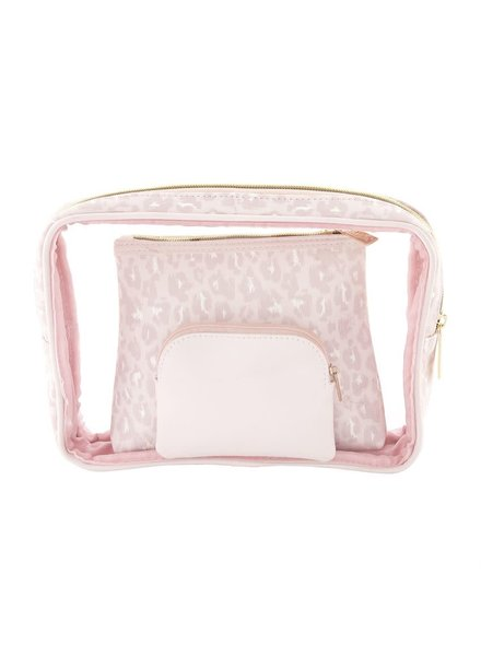 Mudpie Blush Leopard Nesting Cosmetic Pouch Set