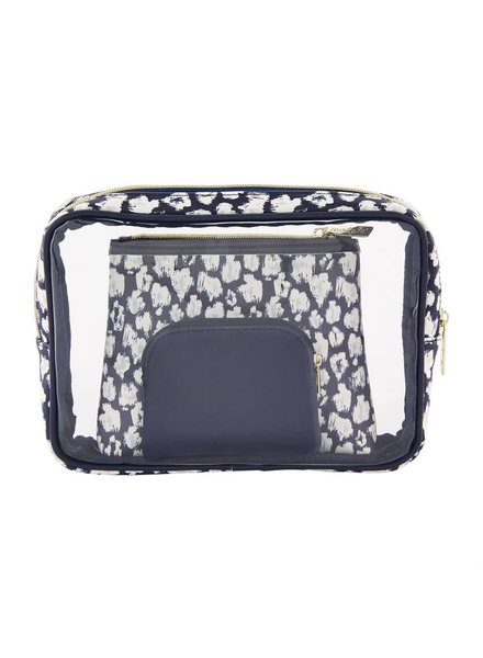 Mudpie Navy Leopard Nesting Cosmetic Pouch Set