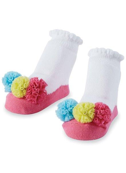 Mudpie Multi-Color Mesh Puff Baby Socks