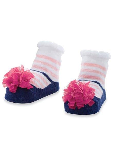 Mudpie Navy & Pink Stripe Baby Socks