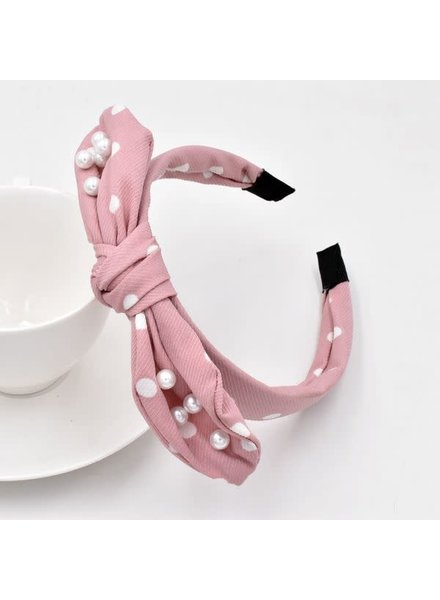Initial Styles Blush & Pearl Knotted Bow Headband