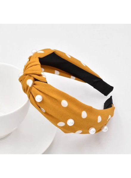 Initial Styles Mustard Pearl Knotted Headband