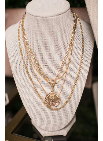 Initial Styles Gold Coin Set of 5 Layered Necklaces