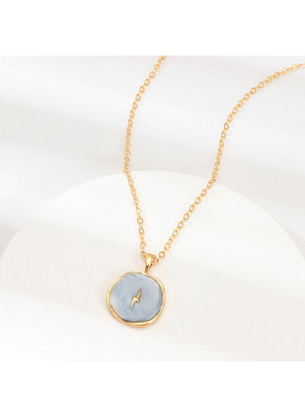 Initial Styles Mint Iridescent Lightening Bolt Necklace
