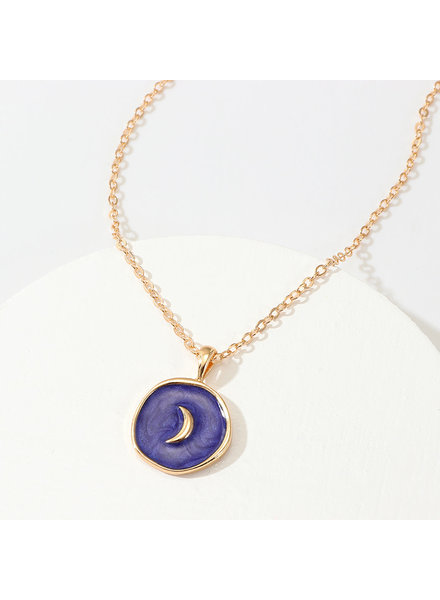 Initial Styles Blue Iridescent Moon Necklace