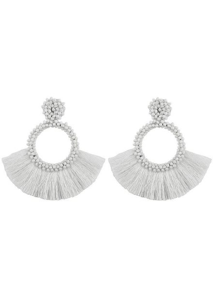 Initial Styles Ivory Beaded Fringe Earrings