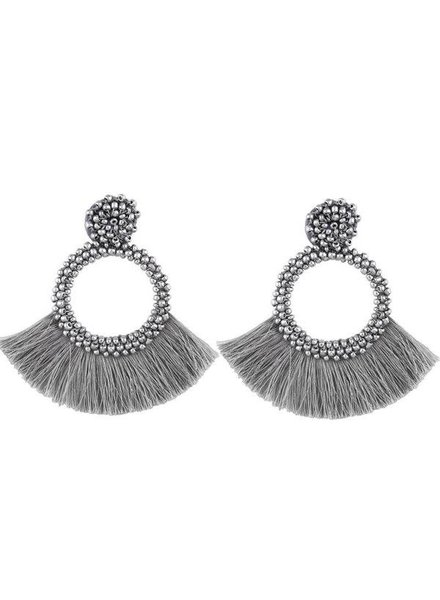 Initial Styles Silver Beaded Fringe Earrings