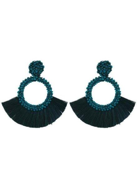 Initial Styles Teal Beaded Fringe Earrings