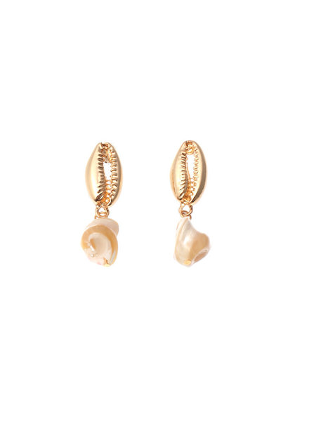 Initial Styles Golden Cowry Shell Drop Earrings