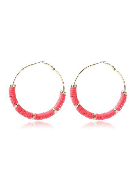 Initial Styles Coral Rubber Disk Hoops