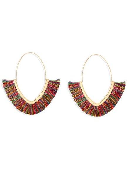 Initial Styles Multicolored Oval Fringe Earrings
