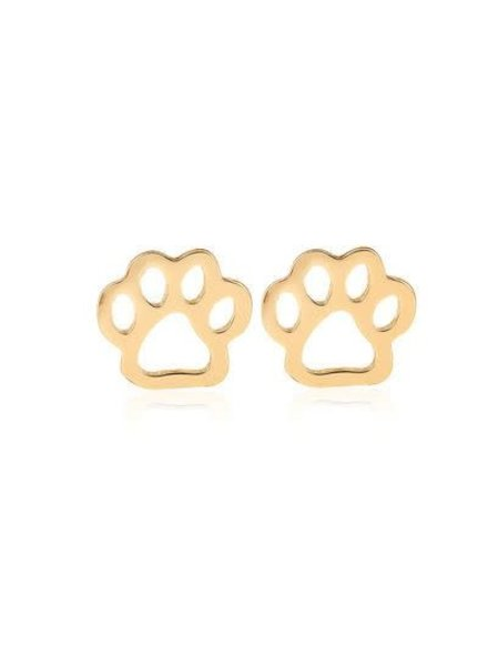 Initial Styles Dog Paw Print Earrings