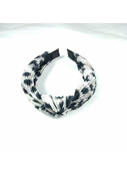 Initial Styles Ribbed Grey Leopard Headband