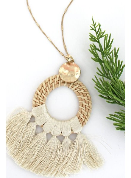Initial Styles Ivory Rattan Tassel Necklace