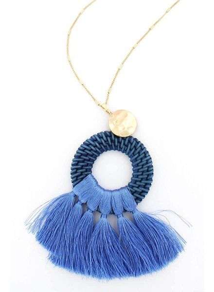 Initial Styles Blue Rattan Tassel Necklace
