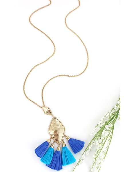 Initial Styles Blue Raffia Tassel Necklace