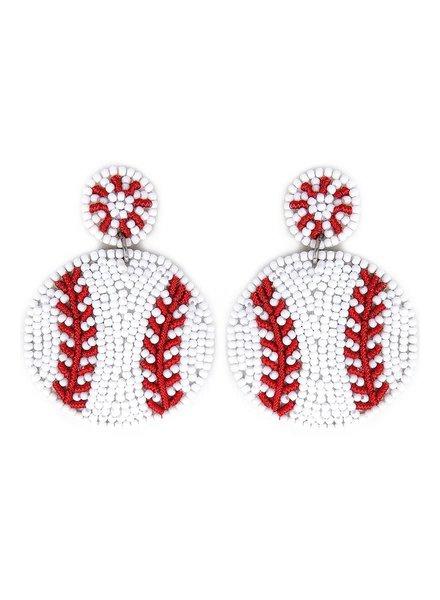 Initial Styles Baseball Beaded Earrings