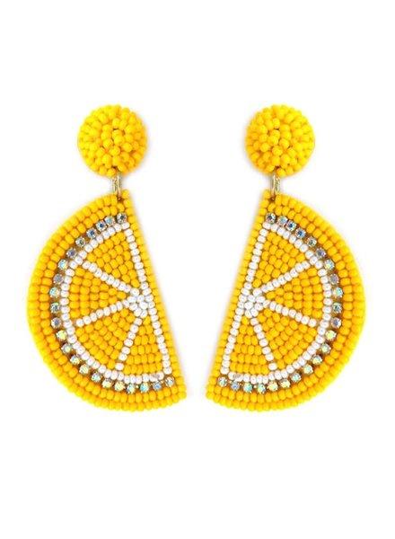 Initial Styles Lemon Beaded Earrings