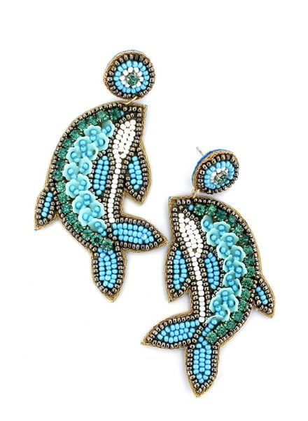 Initial Styles Dolphin Seed Bead Earrings