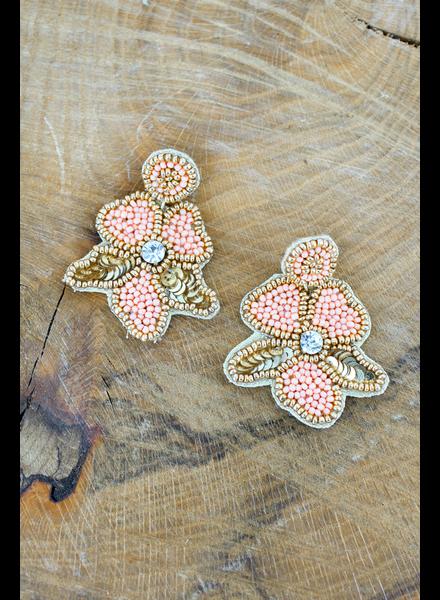Initial Styles Peach Flower Sead Bead Earrings