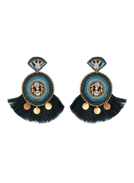 Initial Styles Embellished Green Fan Tassel Earrings