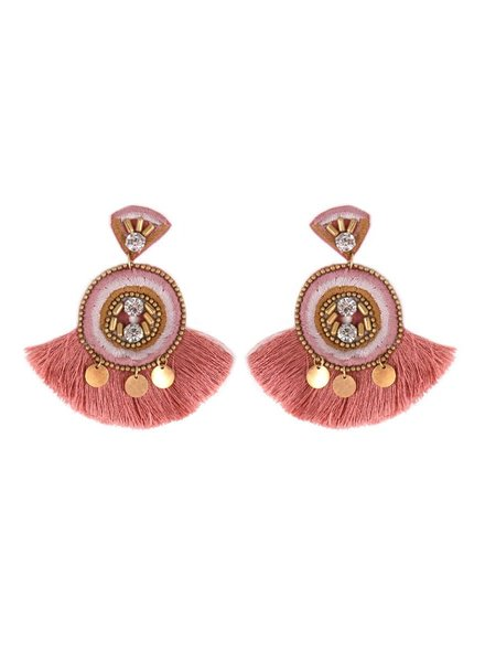 Initial Styles Embellished Rose Fan Tassel Earrings