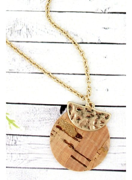 Initial Styles Cork & Gold Layered Disk Necklace