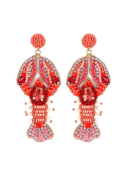 Initial Styles Embellished Coral Lobster Earrings