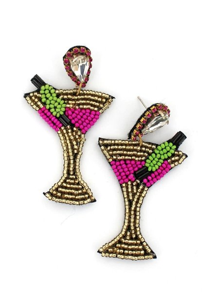 Initial Styles Martini Beaded Earrings