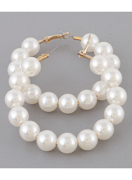 H&D LA Showroom Pearl Hoop Earrings