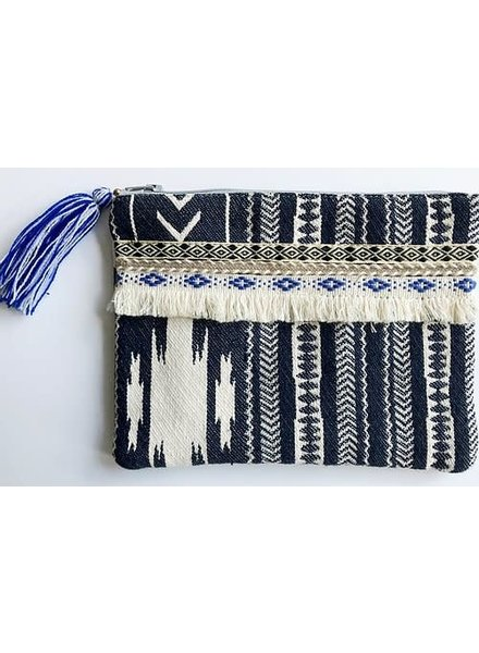 1968 & Co. Blue Fringe Zip Pouch