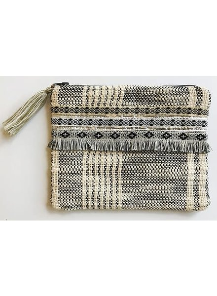 1968 & Co. Grey Fringe Zip Pouch