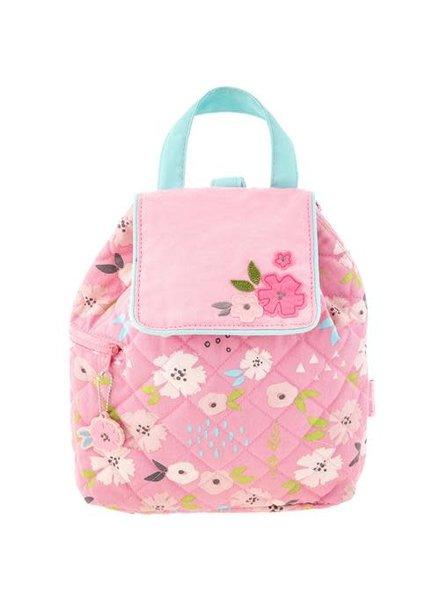 Stephen Joseph Monogrammed Quilted Flower Baby Backpack