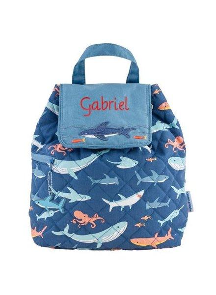 Stephen Joseph Monogrammed Quilted Shark Backpack