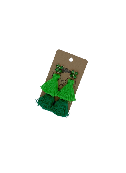 Initial Styles Green Clover Tassel Earrings
