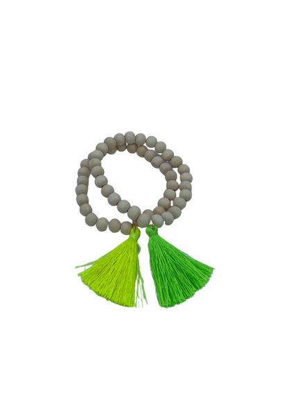 Initial Styles Wood Bead Tassel Bracelet - 4 Color Options