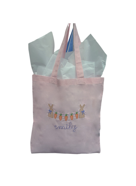 Initial Styles Light Pink Easter Bunny & Carrots Tote Bag