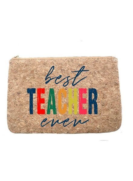 Aspen Lane Best Teacher Ever Cork Zip Pouch