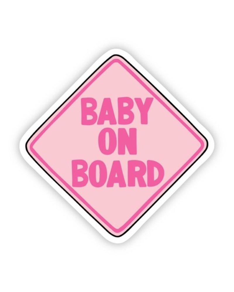 Big Moods Pink Baby On Board Sticker