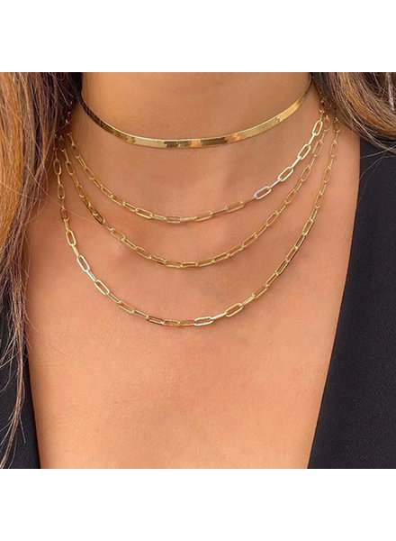 Initial Styles Paperclip Chain Layered Gold Necklace